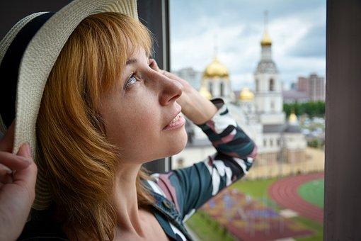 Woman, Window, Portrait, Girl, Hat, Person, Posture