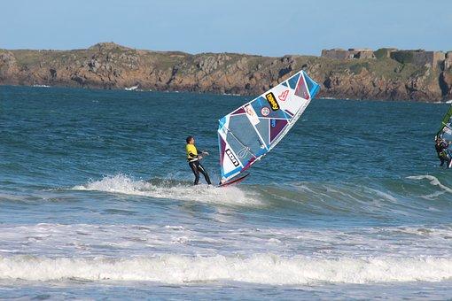 Windsurfing, Sea, Saint-malo, Sport, Beach, Shore