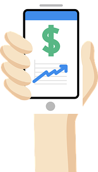 Dollar, Smartphone, Hand, Cellphone, Trend, Chart
