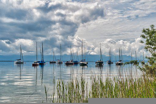 Boats, Anchorage, Lake, Chiemsee, Bank, Branches, Reeds