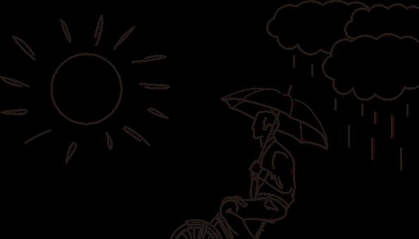 Sun, Clouds, Man, Umbrella, Bicycle, Rain, Rainy, Sunny