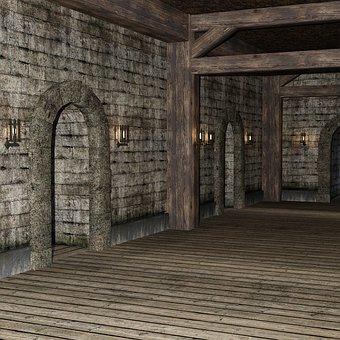 Corridor, Building, Castle, Floor, Old, Hall