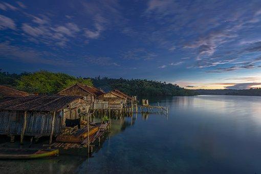 Village, Sea, Dawn, Sunrise, Houses, Hut, Bay, Ocean