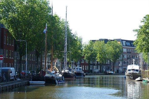 City, Boats, Canal, Netherlands, Gouda, Inner Harbor
