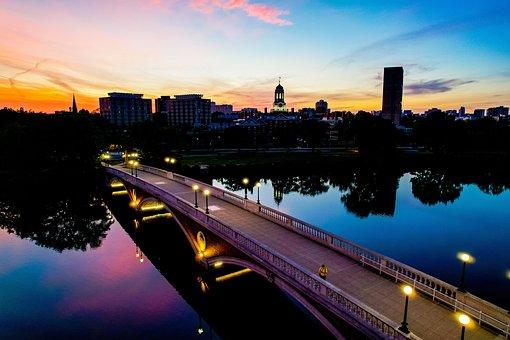 Sunrise, River, City, Bridge, Reflection, Water, Lights