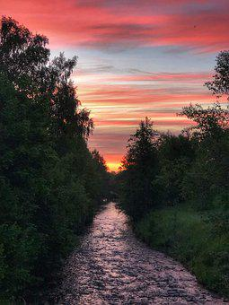 Afterglow, River, Sunset, Waters, Stream, Brook