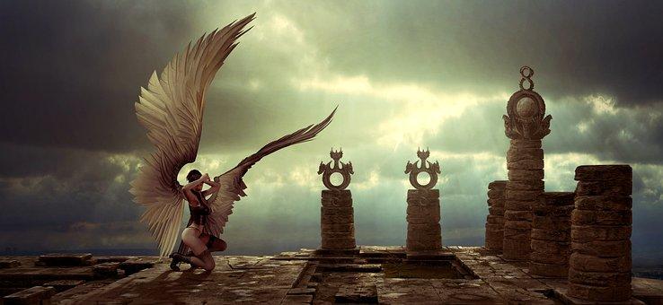 Fantasy, Angel, Epic, Dramatic, Light, Silhouette