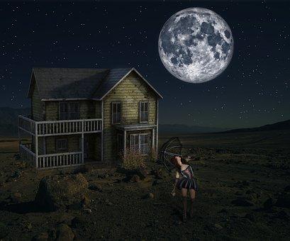 Moon, Girl, Night, House, Darkness, Dark, Night Sky