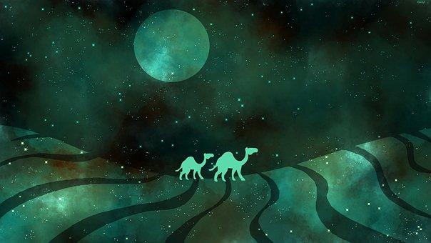 Desert, Camel, Stars, Moon, Space, Night, Galaxy, Sand