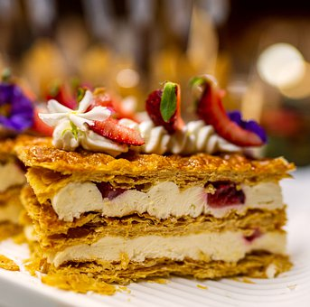 Dessert, Mille Feuille, Cake, Strawberry, Pastry, Food