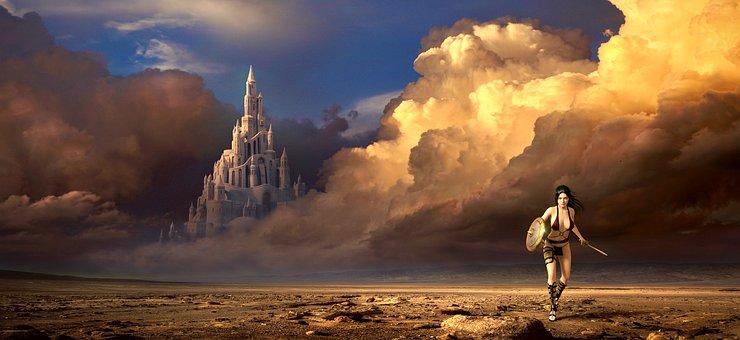 Fantasy, Clouds, Amazone, Woman, Landscape, Castle