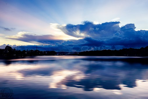 Lake, Reflection, Clouds, Sky, Silhouette, River, Water