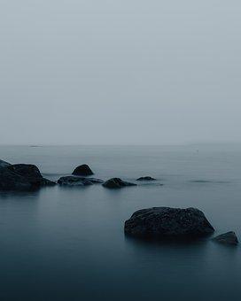 Sea, Rocks, Night, Ocean, Water, Fog, Mist