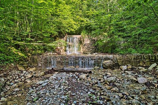 Waterfalls, Cascade, Watercourse, Forest, Nature, Rocks