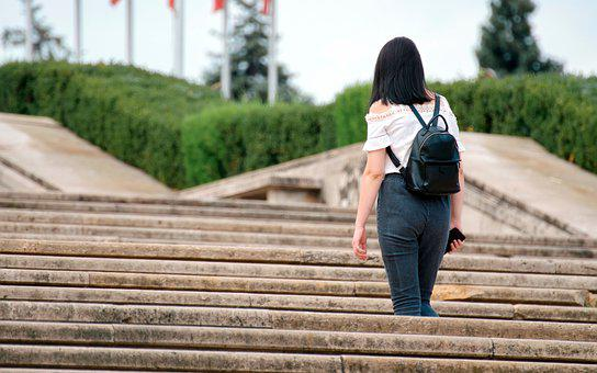 Woman, Girl, Young Woman, Stairs, Park, Outdoors, Steps