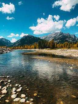 River, Rocks, Mountains, Wyoming, Clouds, Sky