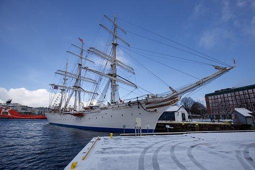 Boat, Ship, Sailboat, Sea, Shore, Mast, Port, Harbor