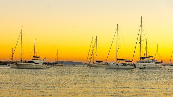 Harbor, Roadstead, Sail Boats, Sunset, Twilight, Sea