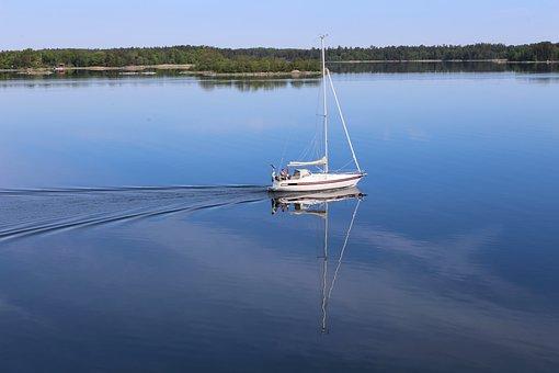 Sailboat, Sea, Travel, Sailing, Boat, Reflection, Water