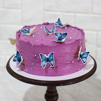 Cake, Butterflies, Pastry, Food, Baked, Cake Stand