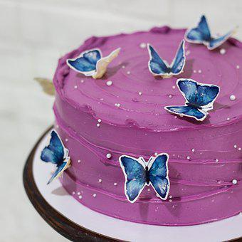 Cake, Butterflies, Pastry, Food, Baked, Birthday Cake