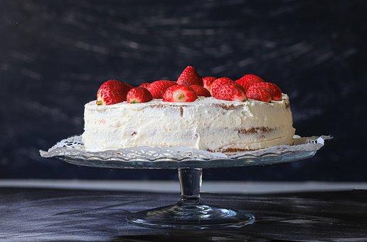 Strawberry Cake, Cake, Dessert, Cake Stand, Strawberry