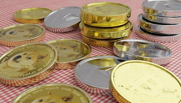Coins, Bitcoin, Dogecoin, Crypto Currency, Crypto