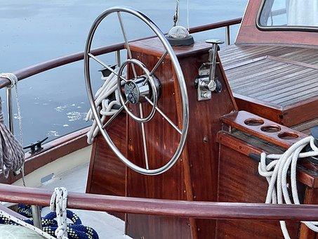 Steering Wheel, Sailing Boat, Ship, Boat, Navigation