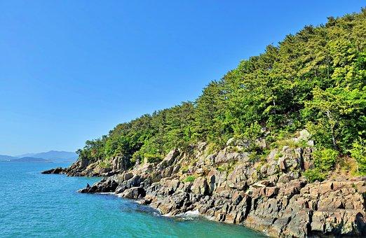 Sea, Mountain, Coast, Rocky Cliffs, Trees, Coastal