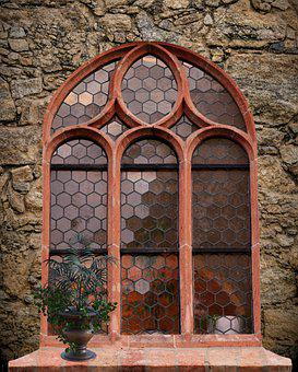 Window, Stone, Wall, Stained Glass, House, Architecture