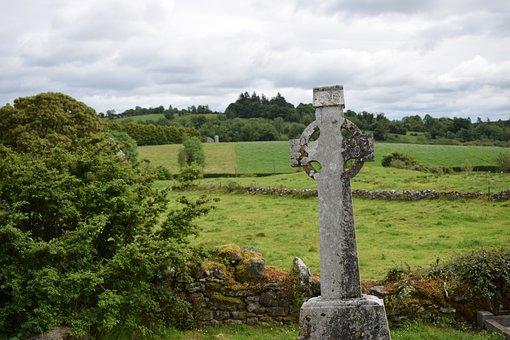 Celtic Cross, Tombstone, Cemetery, Stone, Cross, Old