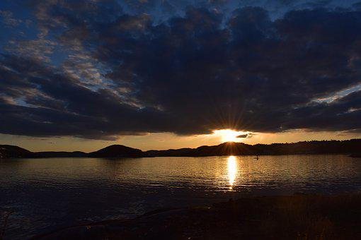 Sunset, Beach, Sea, Mountains, Silhouette, Sun