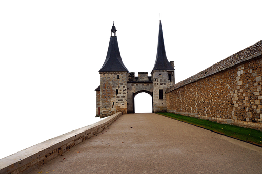 Castle, Gateway, Road, Pavement, Wall, Towers