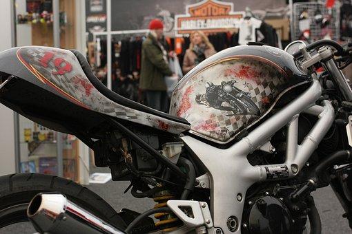 Motorcycle, Tank, Airbrush, Moto, Salon, Show, Design
