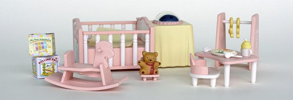Doll Room, Toys, Rocking Horse, Teddy Bear, Bed