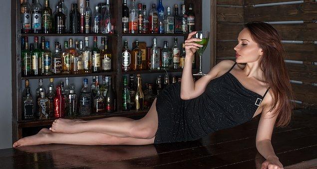 Bar, Wine, Girl, Bottles, Restaurant, Alcohol