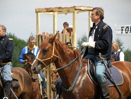 Battle Re-enactment, Cowboy, Cavalry, Horses, Western