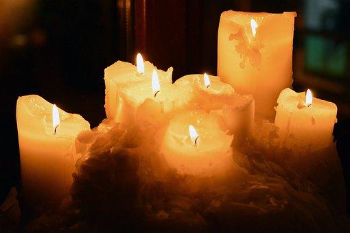 Seven, Candles, Lit, Dark, Lighting, Light, Melting