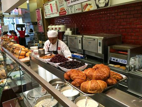 Breakfast, Deli, Restaurant, Pastry, Person, Prep, Man