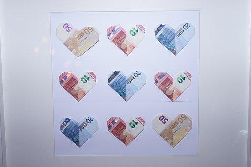 Bank Note, Herzchen, Money, Gift, Euro, Idea