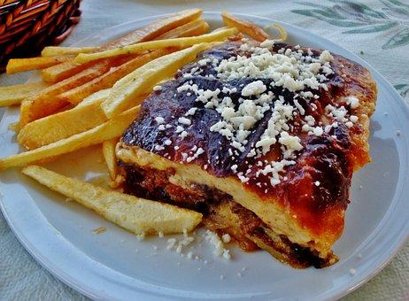 Food, Mousaka, Salty Cake, Restaurant, Greece