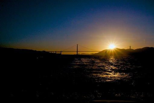 San, Francisco, Harbour, Sunset, Golden, Gate, Bridge