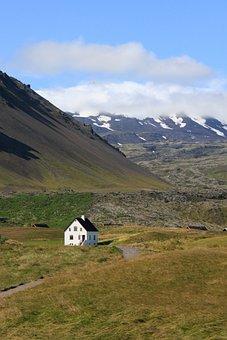 Iceland, House, Landscapes, Mountain, Snow, Glacier