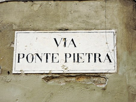 Cartel, Via, Stone Bridge, Italy