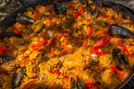 Paella, Andalusia, Spain, Cooking, Mussels, Mixed, Pan