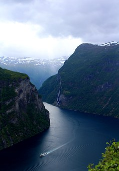 Geiranger Fjord, Panoramic, The Seven Sisters, Norway