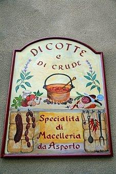 Italian Sign, Sign, Vintage, Retro, Restaurant, Food