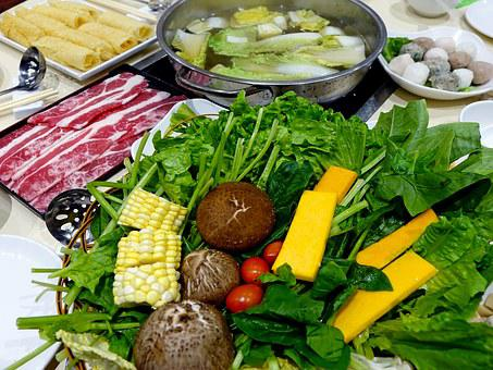 Steamboat, Vegetables, Meat, Soup, Seafood, Delicious