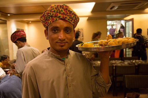 India, Waiter, Oriental, Boy, Server, Restaurant, Food