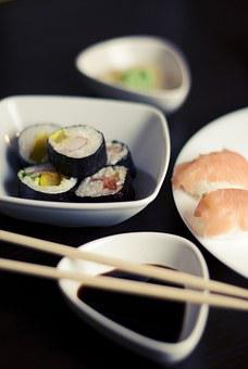 Sushi, Salmon, Food, Dinner, Lunch, Snack, Japanese